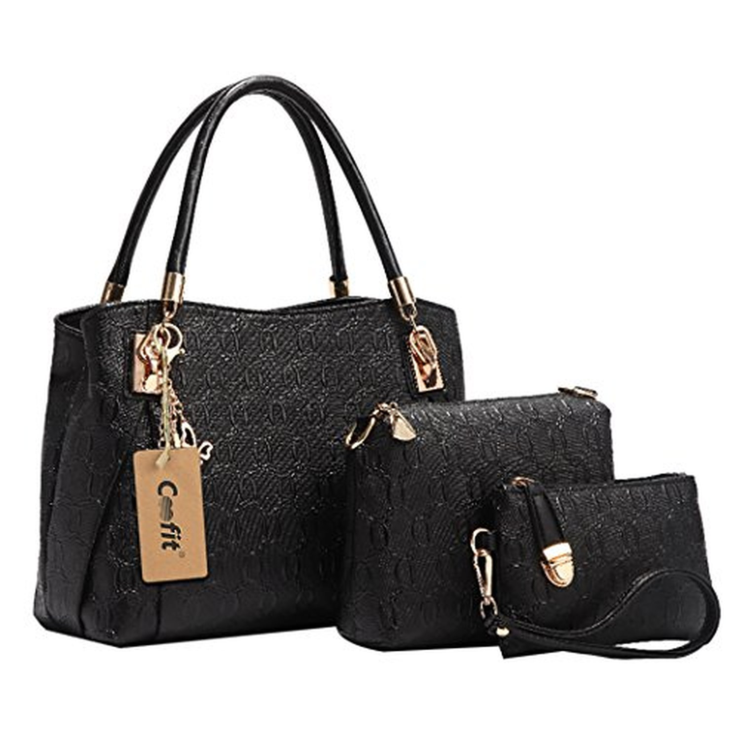 coofit lot de 3 sacs pour femmes en cuir vintage sac main sac bandouli re pochette noir 2016. Black Bedroom Furniture Sets. Home Design Ideas