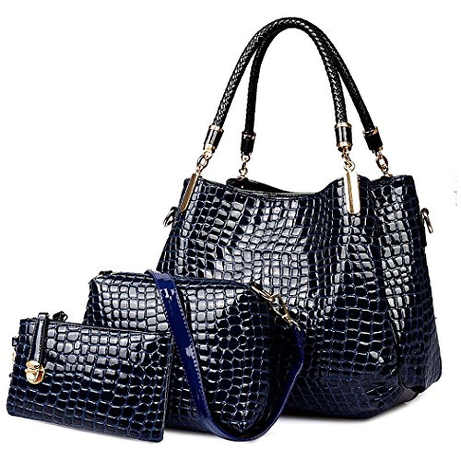crocodile femmes sac en cuir set mesdames hobo sac bandouli re et sac main vin 2016 soldes. Black Bedroom Furniture Sets. Home Design Ideas