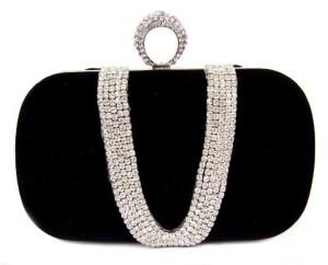 Cherrikiss Sac à Main Noir Sertie de diamants avec une sangle à double origine 2016