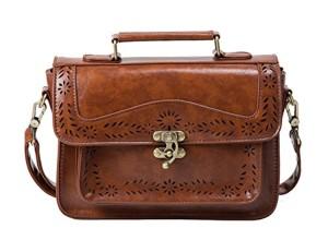 Ecosusi-Sac Cartable-Sac bandoulière pour femme -sac à main-Vintage Cartable-Cuir-Marron 2016