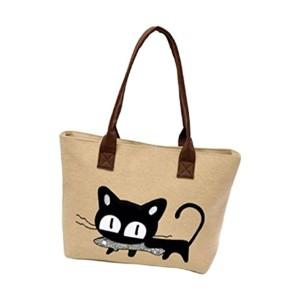 Fami Nouveau Mode Femmes Toile Chat mignon sac à bandoulière ,Bureau Lunch Bag 2016