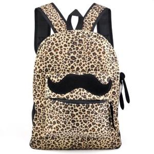 Gleader Retro Femmes Toile Moustache Sac a dos Sac a bandouliere Hommes Leopard Sac a dos Satchel 2016