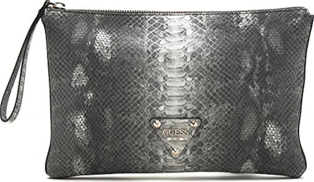 GUESS, pochette, sac de soirée, sac bandoulière, simili cuir, aspect phyton, gris, 32 x 22,5 x 3 cm (H x L x P) 2016