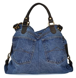 Lae In – Sac « Jean recyclé » et empiètements cuir de vachette (porté main ou bandoulière) – Made in Italy – 34 cm (H) x 42 cm (l) x 17 cm (E) – Made in Italy 2016