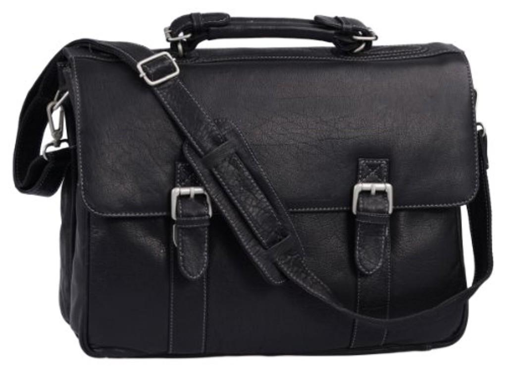 ''Oxford'' - Serviette by BIANCI, cuir véritable, noir - ''LEAS Classic Bags'' 2016