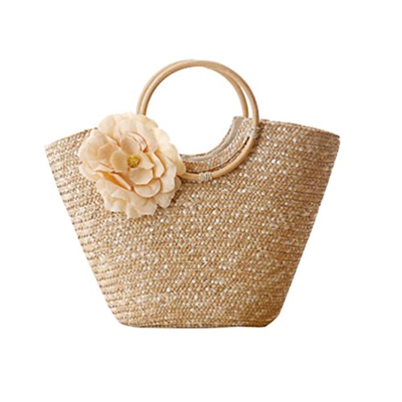 youjia femme fleur en paille tress e casual sac de plage fourre tout 2017 soldes sac. Black Bedroom Furniture Sets. Home Design Ideas