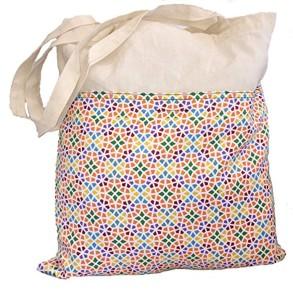Cabas Tote Bag Coton avec Grande poche extérieure Imprimée Mosaïque Gaudí fermé avec Velcro 2017