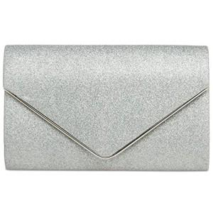 CASPAR TA365 Sac à main enveloppe clutch élégant pour femme – Pochette de soirée à paillettes avec longue chaînette 2017
