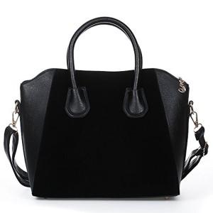 FACILLA® Sac à Main Sacoche Bandoulière Epaule Croisé PU Noir Femme Shopping OL 38x12x29cm 2017