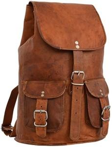 """Gusti Cuir nature """"Gary 13"""""""" sac à dos en cuir backpack bagage à main bagage cabine sac randonnée sac porté épaule homme femme cuir de chèvre marron foncé M31 c 2017"""