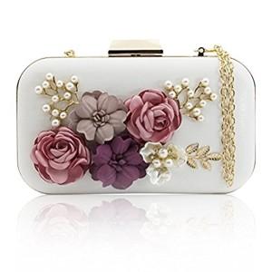 J&F Sac de Soirée Féminin Wallet Sac à Main Fleur Portefeuille de Perles Handbag Pochette 2017