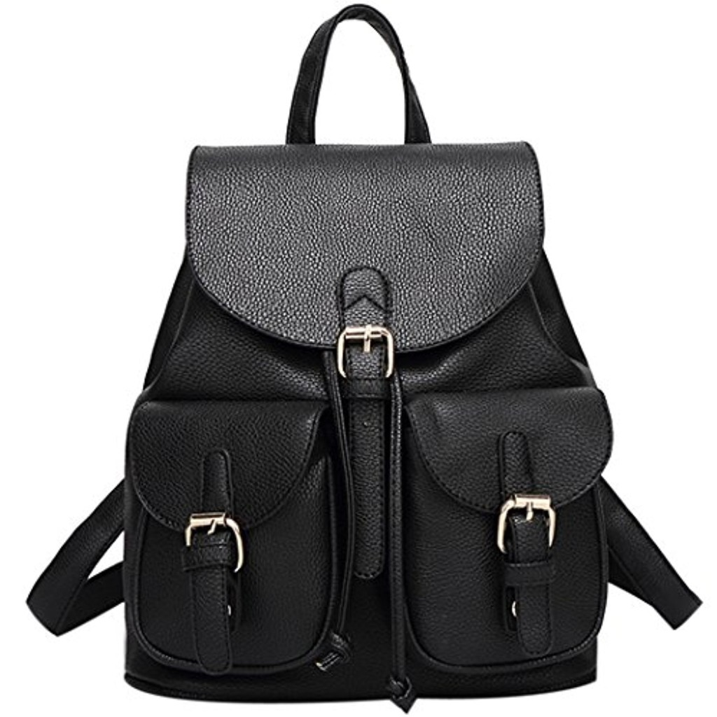 Sac a dos femme - Coofit Sac à dos PU cuir Cartable college fille Backpack Sac dos noir Sac a dos college cuir synthétique Sac a dos voyage 2017