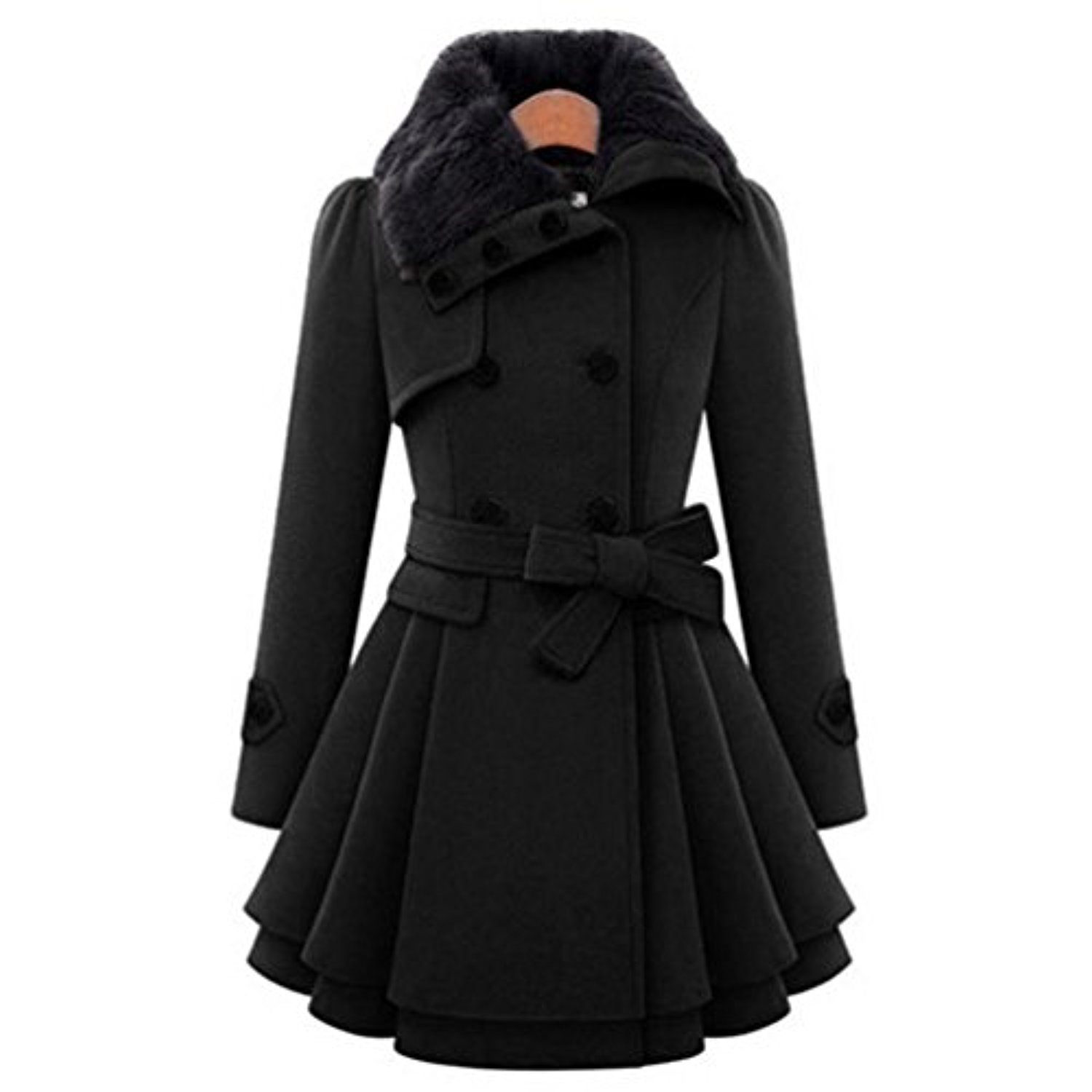 grande taille manteau femme long fausse fourrure hiver chaud vintage chic longra parka femme. Black Bedroom Furniture Sets. Home Design Ideas
