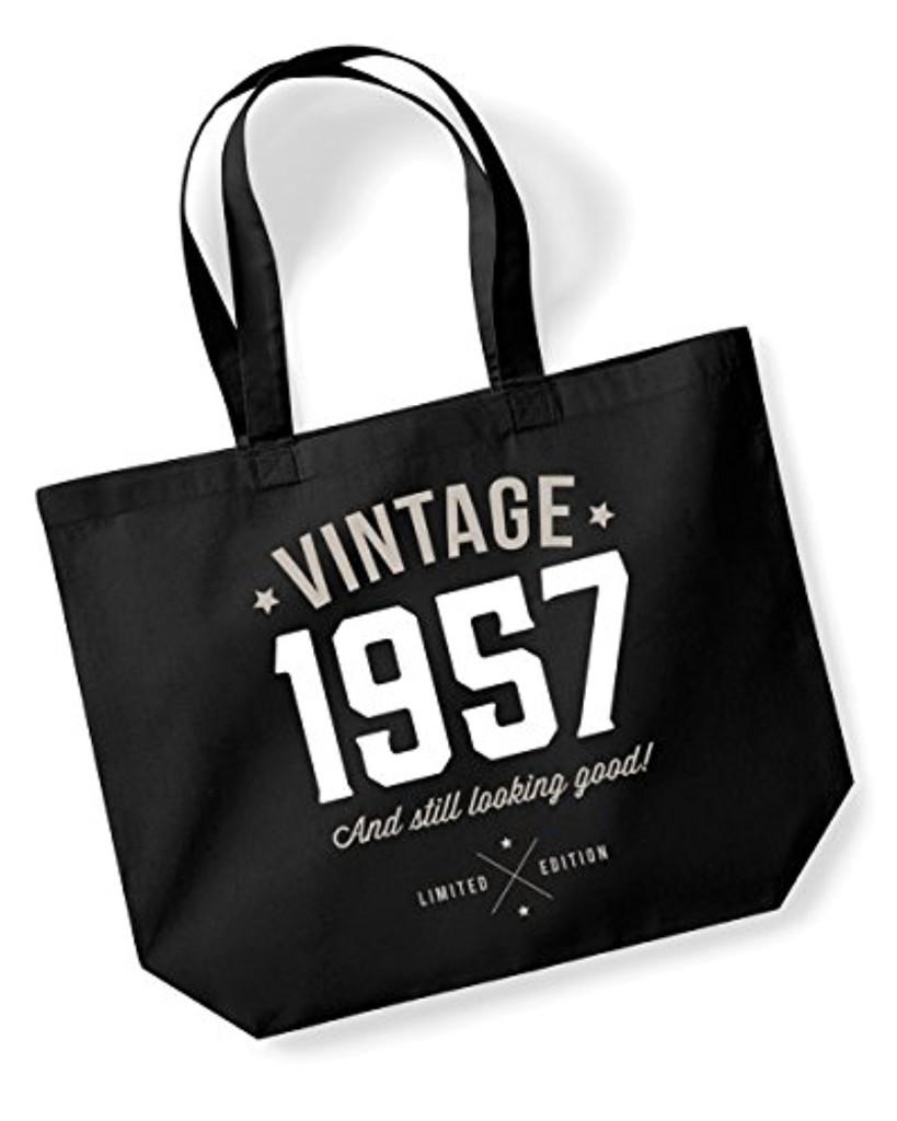sac fourre tout pour 60 me anniversaire id e cadeau pour femme tissu noir taille l 2017. Black Bedroom Furniture Sets. Home Design Ideas
