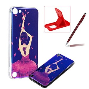 Coque Silicone iPod Touch 6, Herzzer Bling Glitter Souple TPU Housse Etui Blu-Ray Design Ultra Slim Flexible Sparkle Bumper Case Cover pour Apple iPod Touch 6 / 5 Coque de Protection – Fille Danseuse 2018