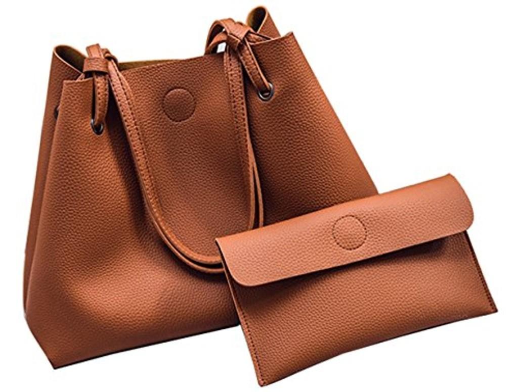Ghlee souple en cuir véritable Femmes Dames Grand Capacité Client Satchel Sacs Messenger avec petite embrayage Bourse 2 pcs 2017