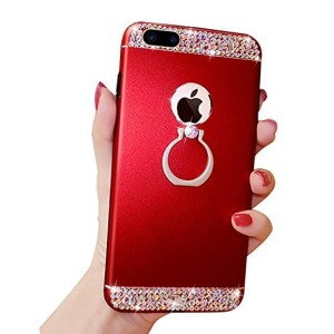 Herzzer Luxe Diamant Coque pour iPhone 6S Plus Rouge, Bling Glitter Strass PC Plastique Etui Ultra Resistante Coque de Protection Hard Backcover avec 360 Degres de Rotation Ring Stand Holder pour Apple iPhone 6 Plus/ iPhone 6S Plus (5.5 Pouces) 2018