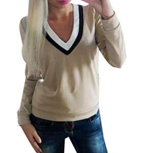 Tops, FEITONG Femmes V-Neck Splicing Casual Manches Longues T-shirt en coton Blouse 2018