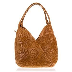 FIRENZE ARTEGIANI.Sac shopping bag pour femme en cuir véritable. Sac en cuir véritable gravé avec motif géométrique tressé et laqué. MADE IN ITALY. VERA PELLE ITALIENNE. 33x33x18 cm. Couleur: MARRON 2018