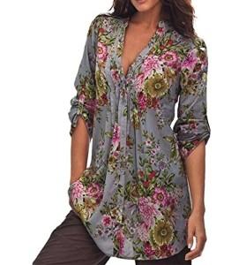 Manches longues Blouse, Femme Chemisier imprimé floral Vintage Dessus de tunique de V-Neck Mode plus taille Tops shirt 2018