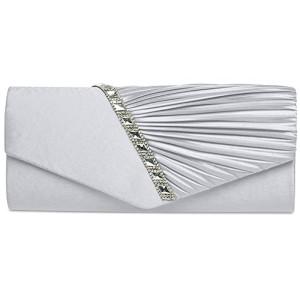 CASPAR TA391 Pochette de soirée élégante avec fronces – Clutch en satin avec strass et paillettes pour femme 2018
