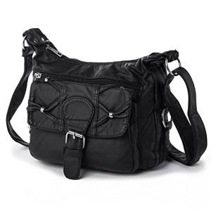 Katloo Petit sac à bandoulière léger et décontracté pour les femmes dames petit sac noir sac de poche multiple pour la marche de voyage Shopping vacances, Faux cuir 2018
