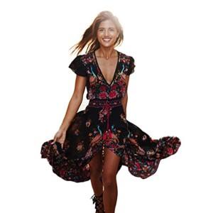 Robe Mode ,Beikoard Femmes Imprimer Floral Retro Palace V-Neck Robe de Soirée Élégant Cocktail Cérémonie Longue Pour Mariage Rockabilly Swing 2018