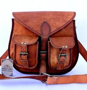Shakun Leather sac bandoulière en cuir vintage authentique fabriqué à la main pour femmes, double poche frontale 2018