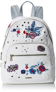 Desigual Bols_denim Flowers Lima femme Sacs portés épaule Blanc (Blanco) 11x34x25 cm (B x H x T) 2018