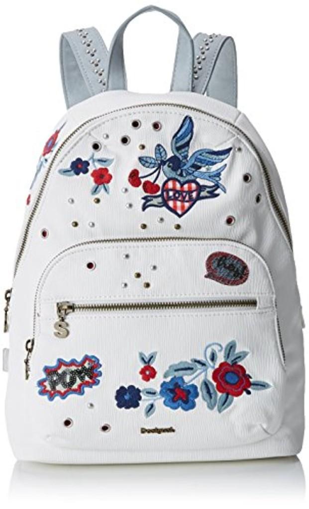 Desigual Bols_denim Flowers Lima femme Sacs portés épaule (Blanco) 11x34x25 cm (B x H x T) JGksx