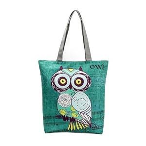 ESAILQ Owl Imprimé Canvas Tote Casual Sacs de plage Femmes Sac à provisions Sacs à main 2018