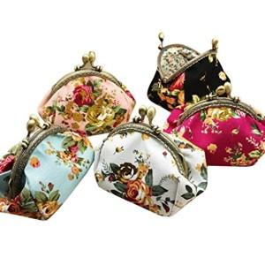 Femmes Vintage Fleur petit toile porte-monnaie, QinMM Lady Hasp Purse Clutch Bag 2018