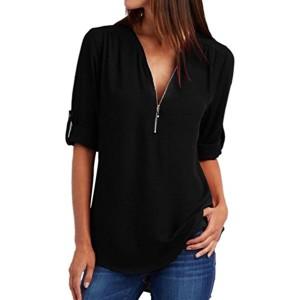 Internet Sexy Mode Femme Chemise à Manches Longues Tunique Zippée T-shirt en Vrac Tops Mousseline de soie Hauts Casual Lâche Blouse 2018