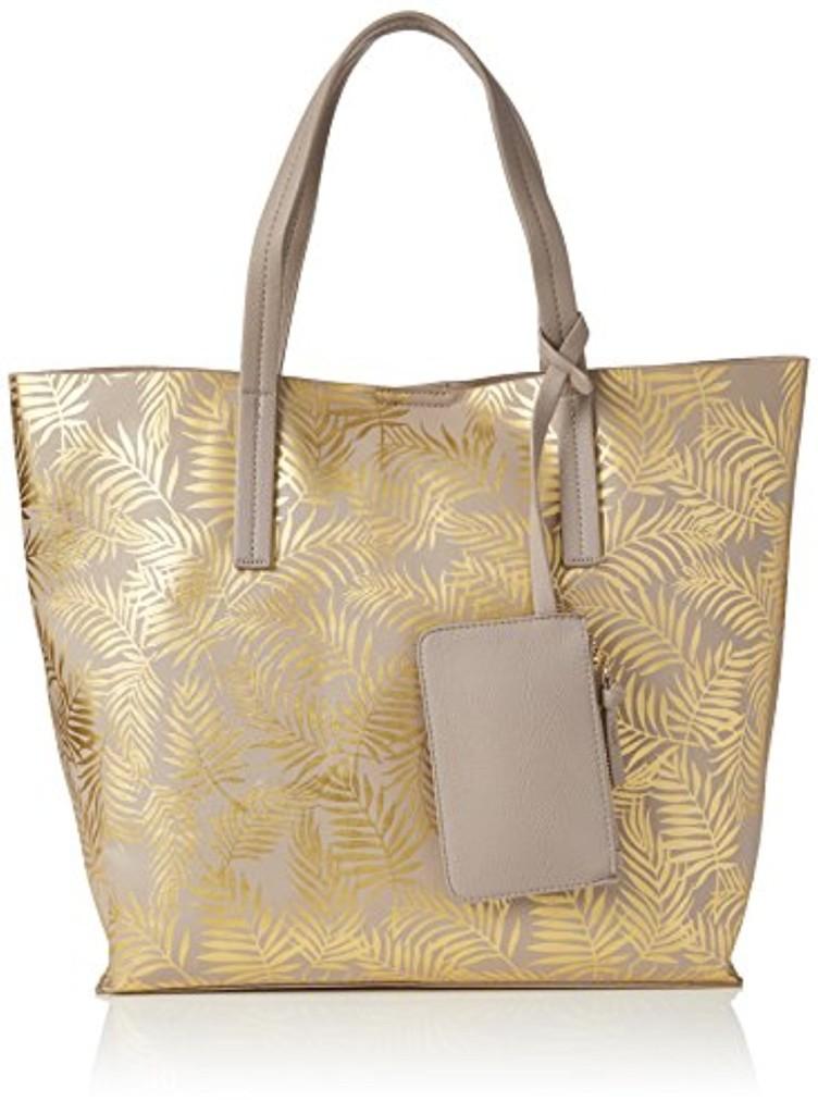 New Look Metalic Palm Print, Cabas femme, Gold, 41x12x35 cm (W x H L) 2018