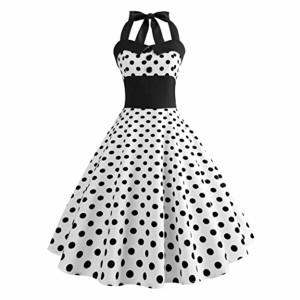 Femme été Vintage Élégant Mini Robe, Femmes Vintage 1950's Audrey Hepburn Pin-up Robe de Soirée Cocktail, Style Halter Années 50 à Pois Ba Zha Hei 2018