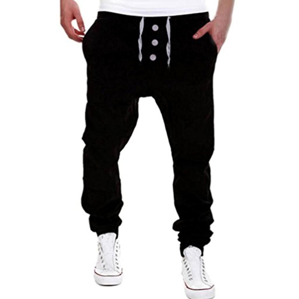 Internet Homme Pantalon de Sport en Mélange de coton Casual Baggy Sarouel Loose Crotch Pantalon de Survêtement Sweatpants Drawstring Taille basse Pantalon de Travail Style Cargo 2018