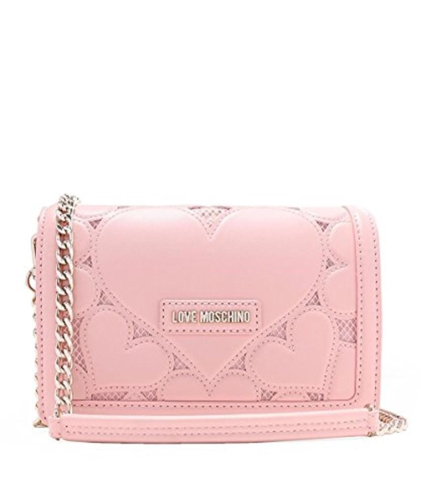 Love Moschino Borsa Lamb Pu+mesh+twill Rosa, Sacs baguette femme, Rose (Pink), 7x18x28 cm (B x H T) 2018