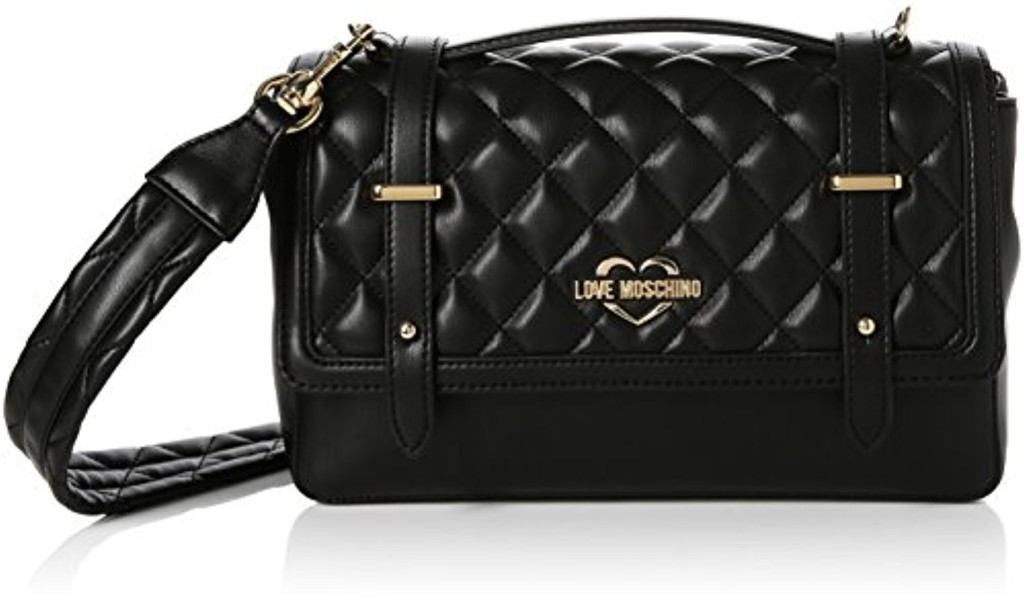 Love Moschino Borsa Quilted Nappa Pu Nero Gal.oro, Sacs baguette femme, Multicolore (Black-gold), 10x17x28 cm (B x H T) 2018
