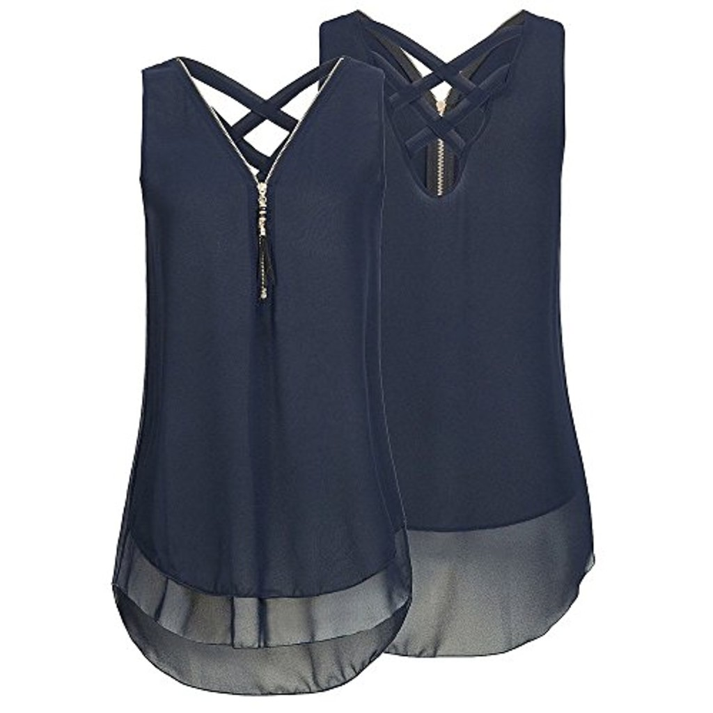 Weant Femme Camisole Été Femme Lady sans Manches V-Neck Couleur Pure Fermeture éclair Grande Taille Vest Débardeur Tops T-Shirt Top Crop Gilet Camisole Debardeur Tops Femme Chemisier 2018