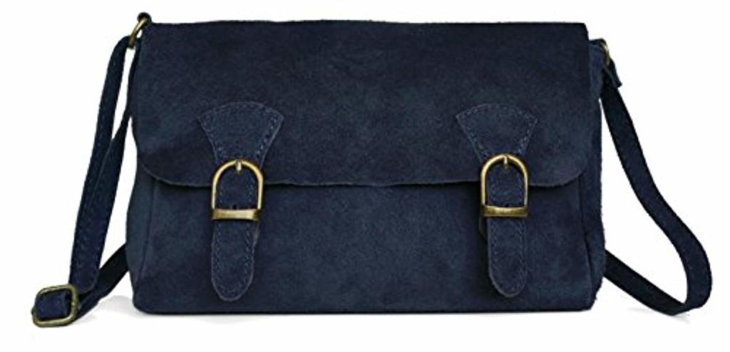 Lae In Petit Sac Besace/Messenger/gibecière - Cuir Veau velours (aspect daim, nubuck) - Fabriqué en Italie - 25 cm (L) x 16 cm (H) x 7 cm (E) - Noir, Bleu, Vert, Jaune Moutarde 2018