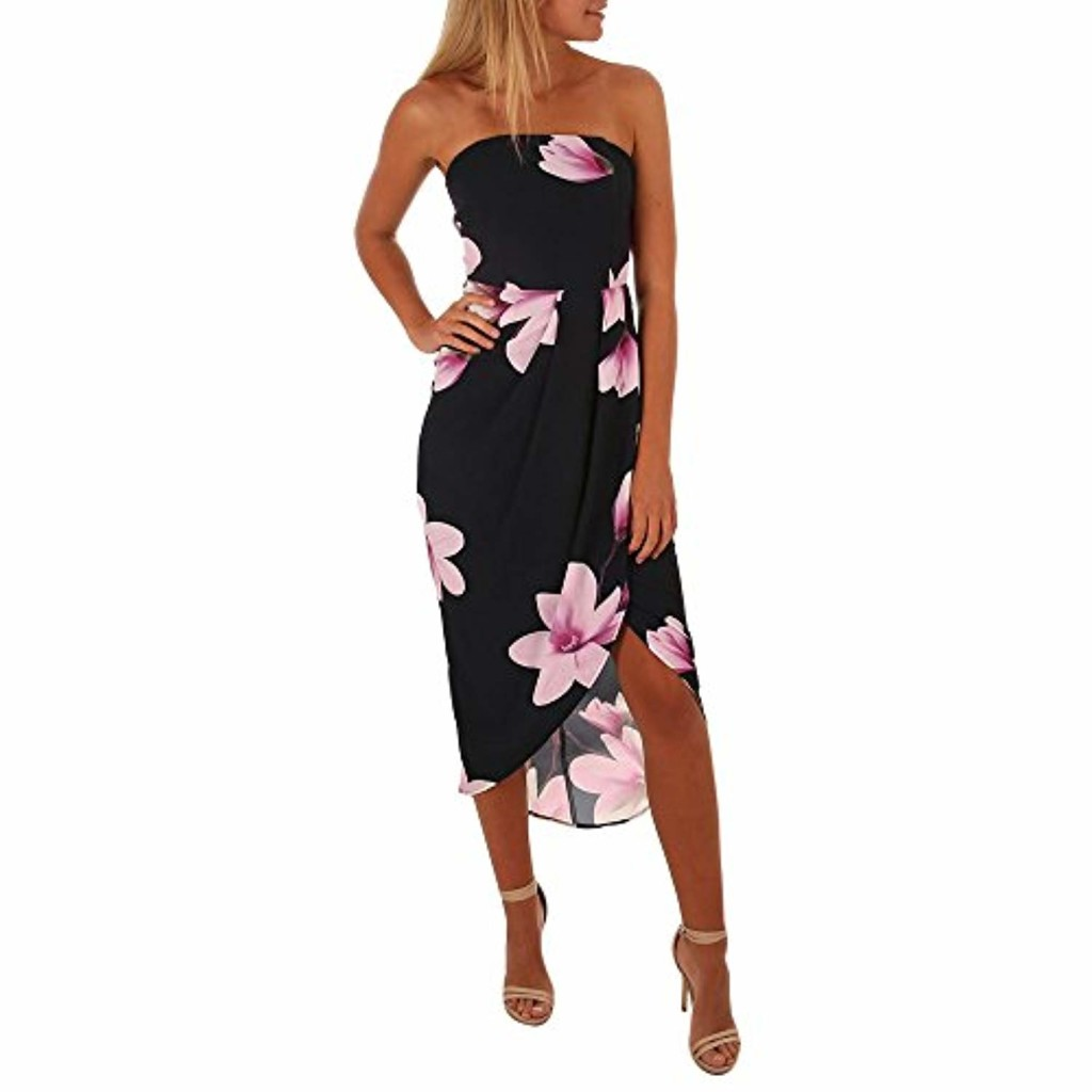 LEvifun Robe Maxi Longue Femme Ete Chic Robe de Soiree Robe de Plage Robe Vintage Sexy Boho Épaule Imprimé Floral Cocktail Party Prom Dress Sundress Chemise Robe Tunique 2018