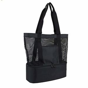 OKPOW Double couche maille plage sac fourre-tout pique-nique organisateur Shopping sac à main noir 2018