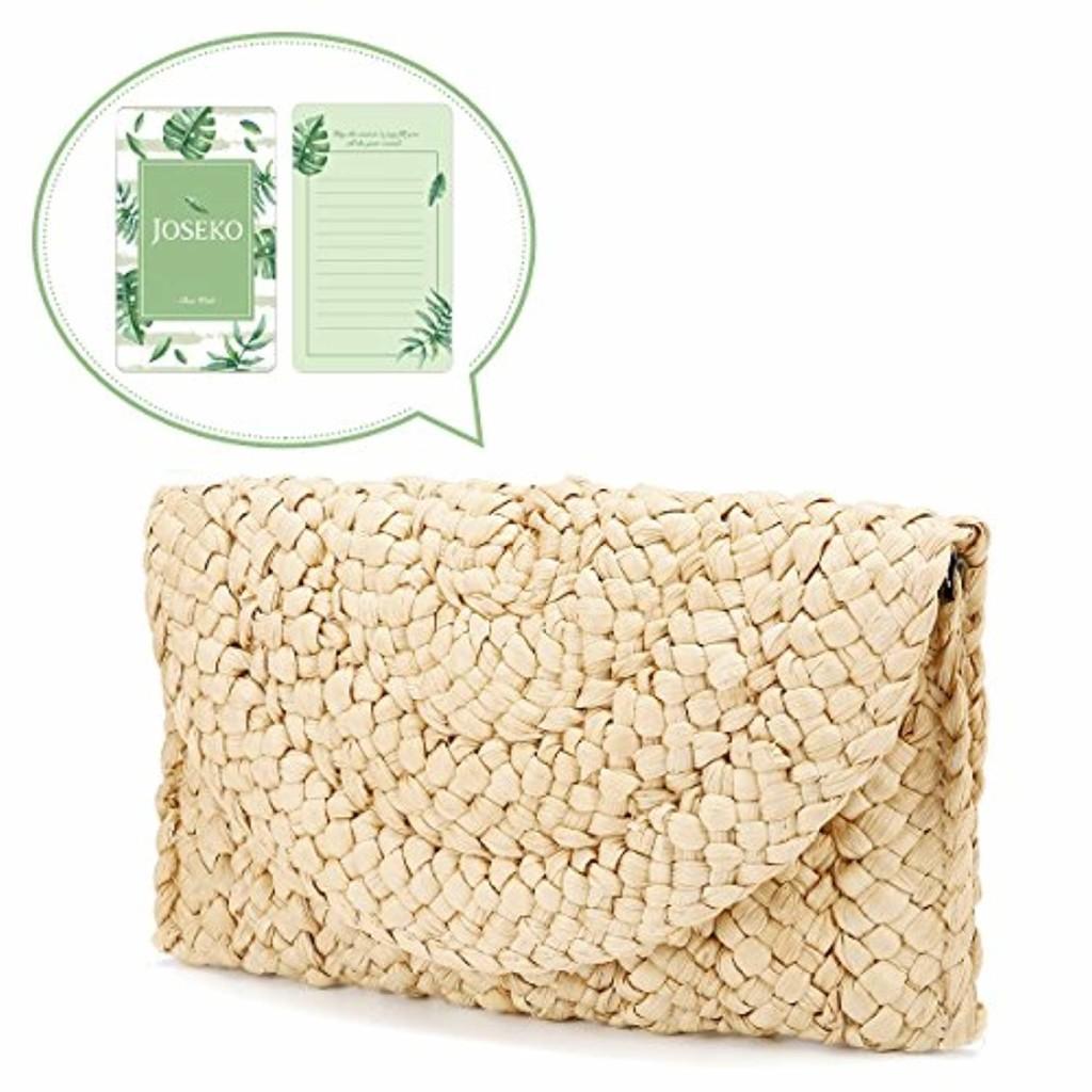 Pochette d'embrayage de paille, JOSEKO femmes paille sac à main enveloppe embrayage plat sac de plage d'été 2018