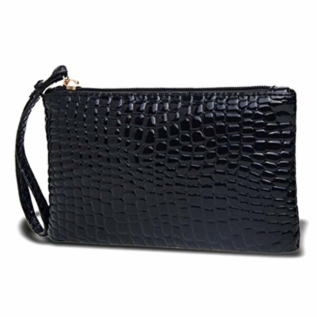 Xiton Femme Portable Alligator Texture Portefeuille Fermeture Éclair Pochette de Soirée Sac à Main Porte-Monnaie (Noir) 2018