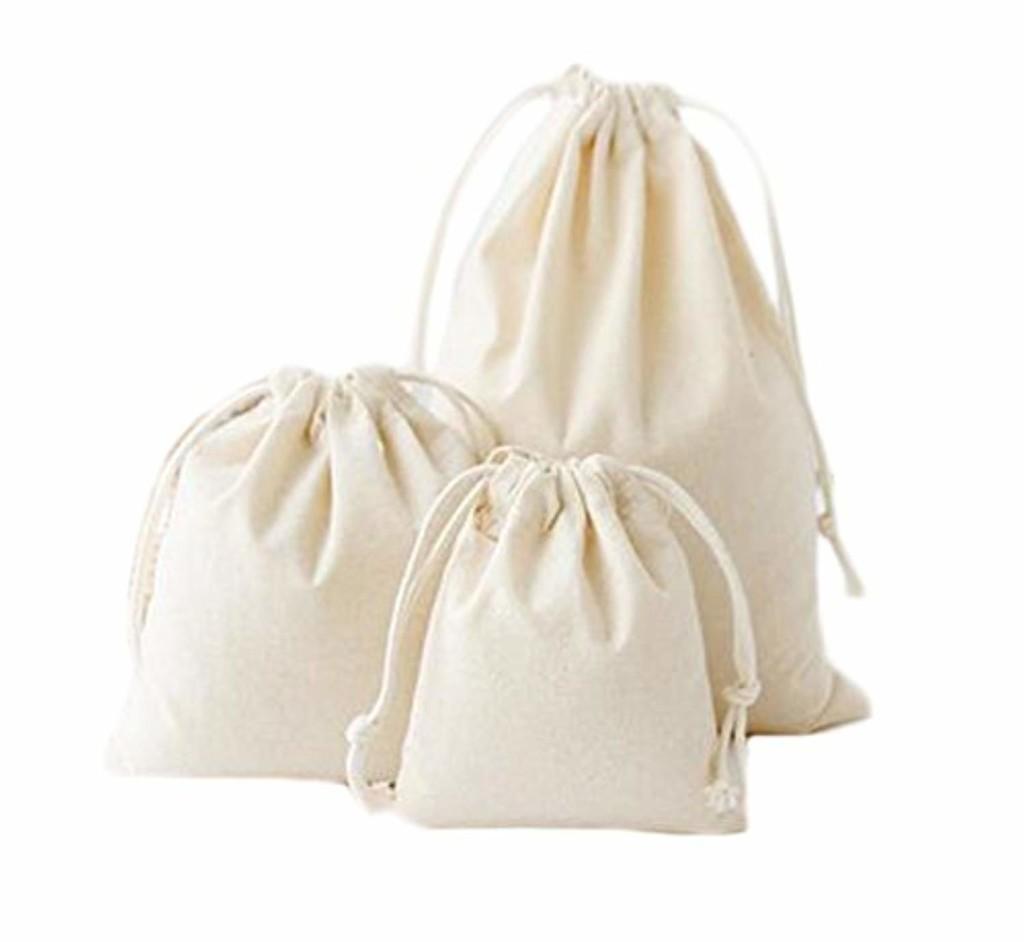 Hosaire 3Pcs/lot Sac de Rangement en Coton et lin Pratique Sac à bagages Blanc Organisateur des Voyage Sac Pochette Avec Cordon 2018