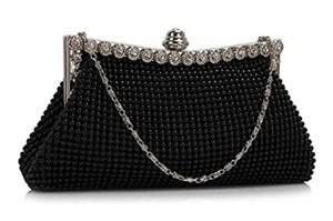 Womens Beautiful Sparkly Black Crystal Soirée Satin Soirée Pochette Sac à main de mariage pour les dames 2018