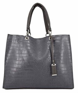David Jones – Grand Sac à Main Shopper Cabas Fourre-Tout Femme Cuir Croco – Sac Tote Shopping Matelassé Crocodile Porté Epaule Bandoulière – Sac Cours Lycée Travail A4 Scolaire – Mode Elégant 2018