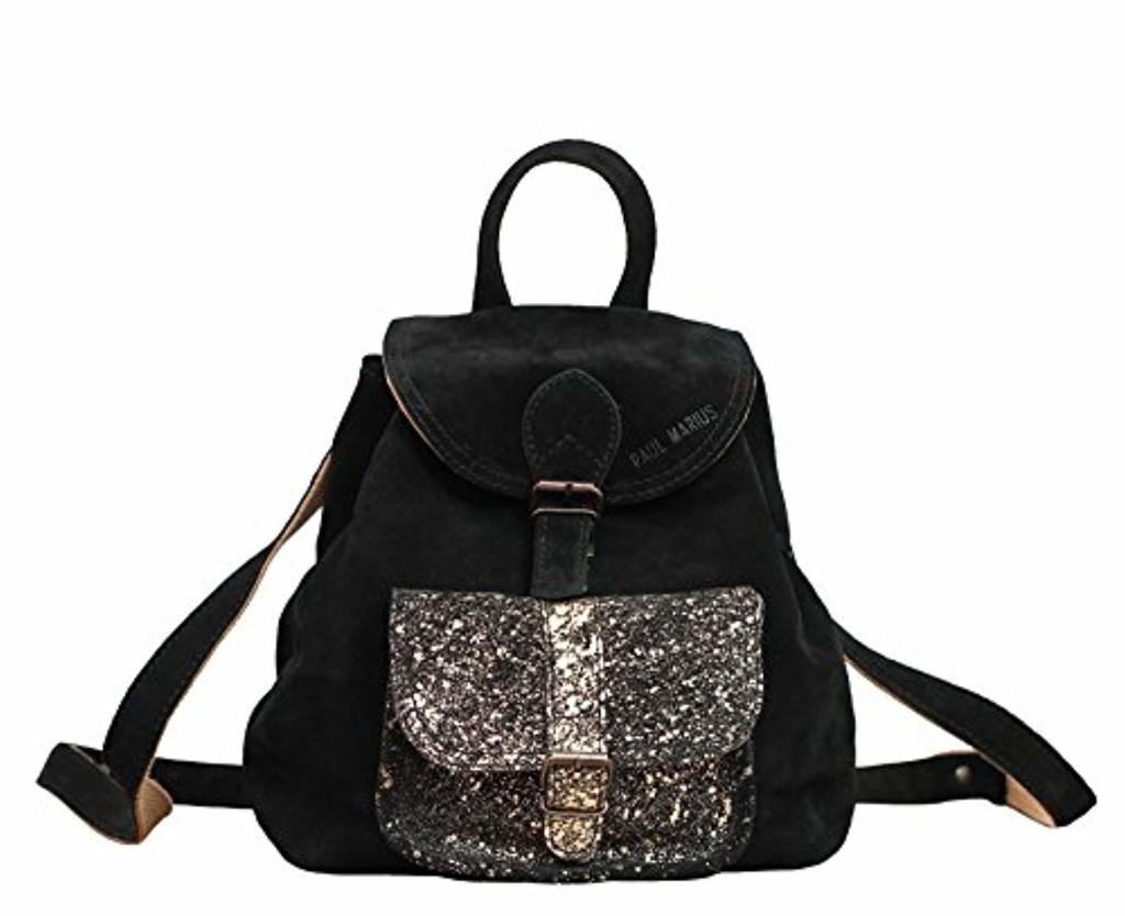 LE BAROUDEUR Noir - Doré petit sac à dos en cuir suédé nubuck de vachette style vintage PAUL MARIUS 2018