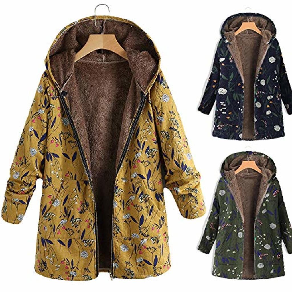 Innerternet_Femme Manteaux à Capuche Coton Lin en Peluche Moelleux Top ÉPais Automne Hiver Zippé Poches Veste Polaire Mi-Long Casual Sweatshirt … 2018