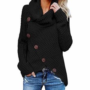 Pull Femme,LianMengMVP Femme Chandail Élégant Col Haut Manche Longue Sweater Blouse Pull Chic Oversized Bouton Jumper Tricots Tops Pullover pour Printemps Automne Hiver 2018
